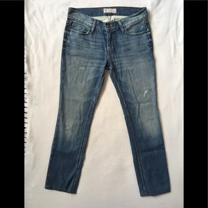 Free People distressed skinny ankle jeans stretch
